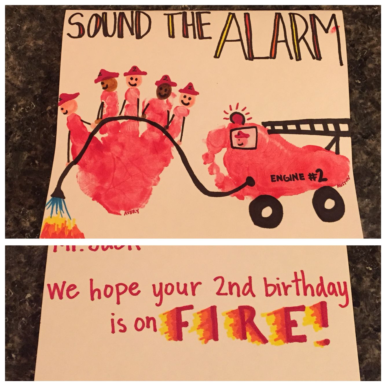Happy Birthday You Ruined My Life Card Firefighter Birthday Card Firefighter Handprint and Fire