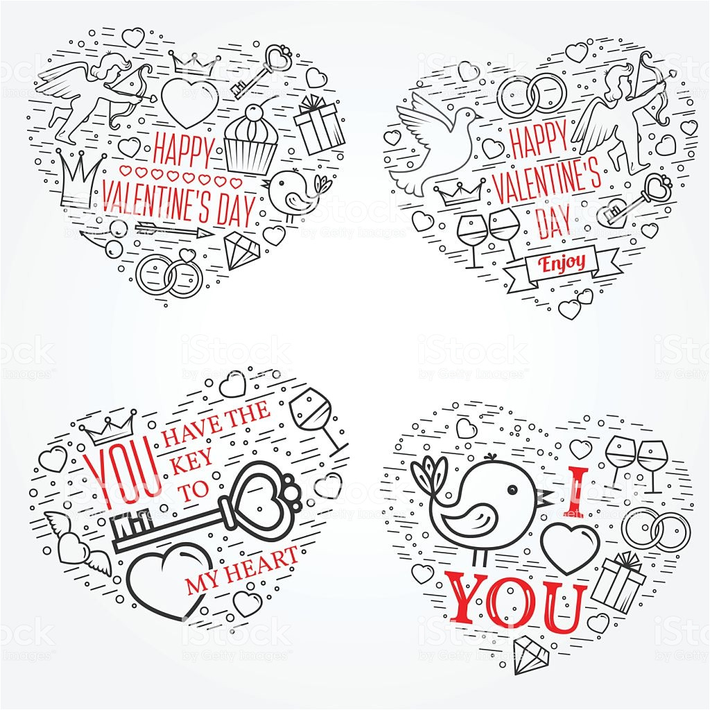 happy valentines day greetings card labels badges symbols vector id579408478