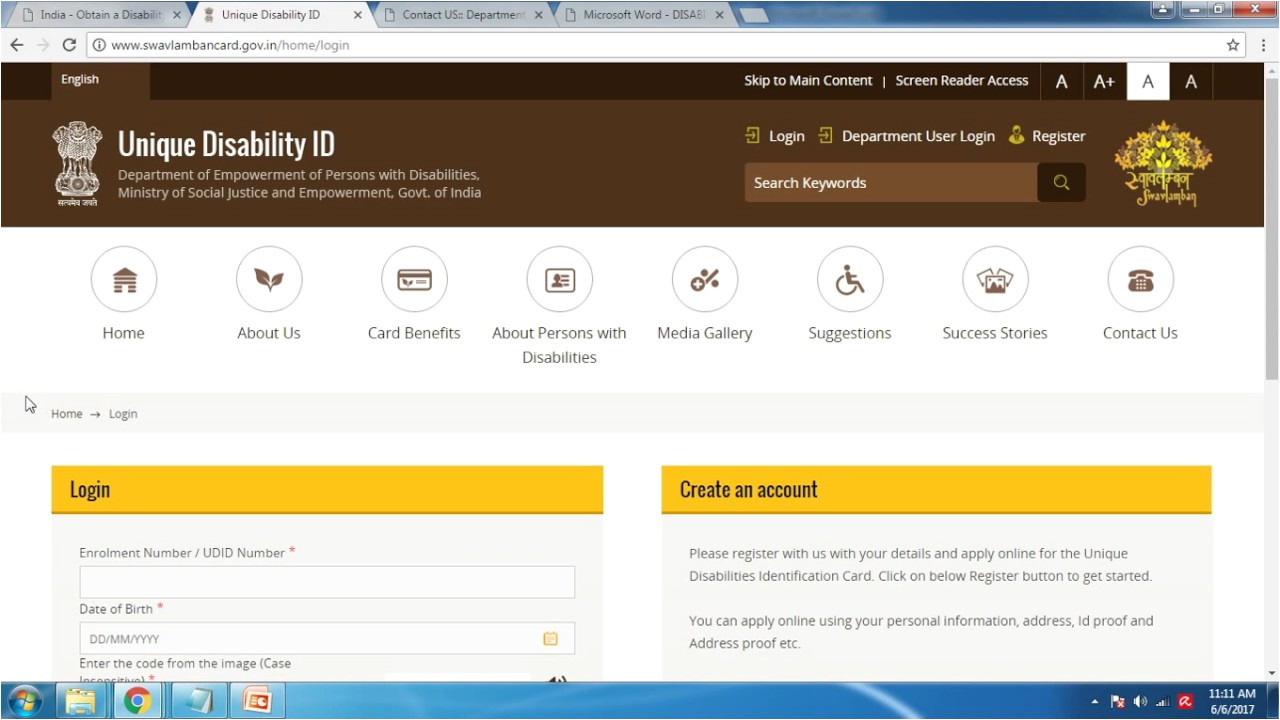 Harshi 19 Railway Unique Card India Apply for Disability Card Unique Disability Identity Card Udid In Engllish