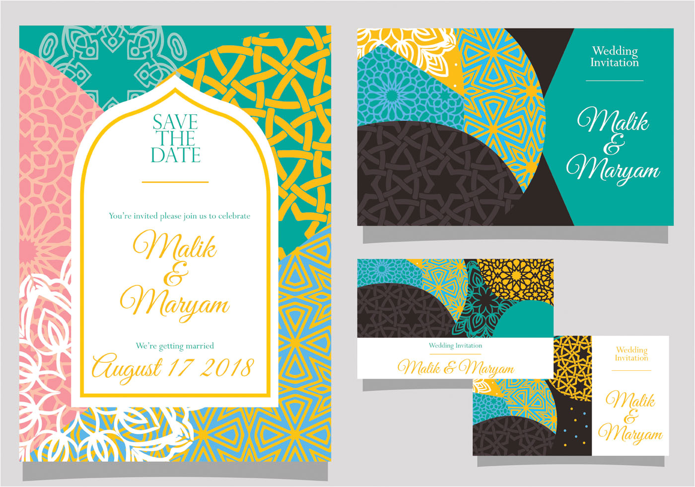 wedding invitation with islamic style vector jpg