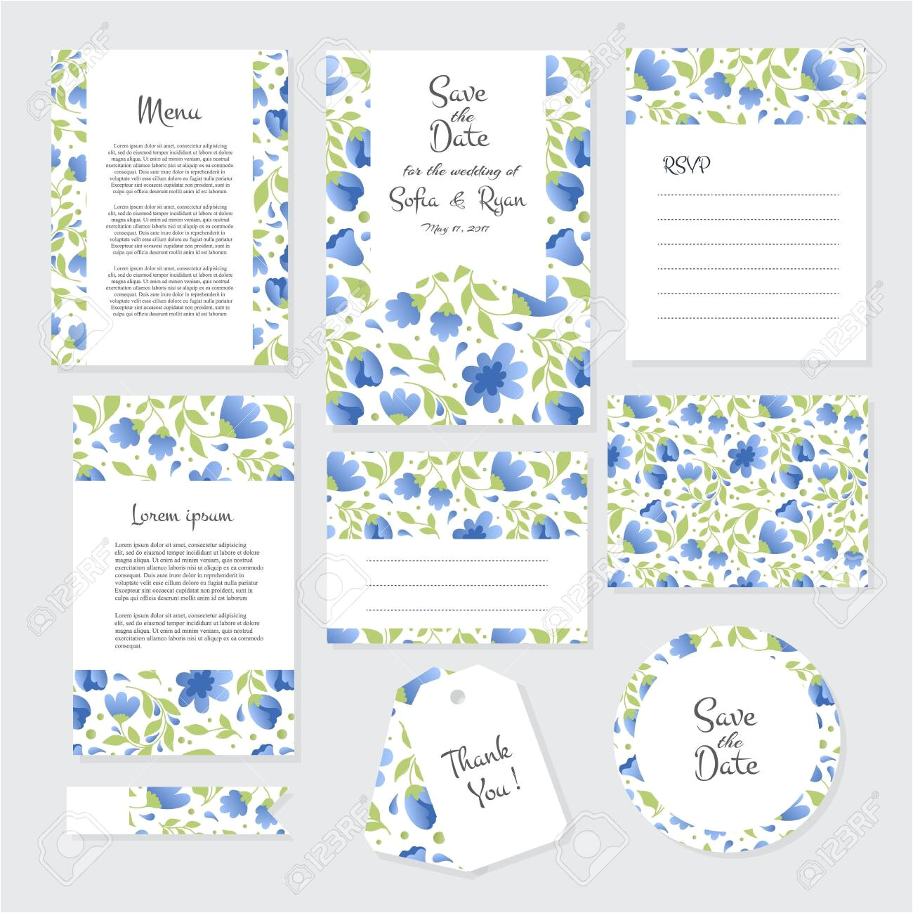 123397476 vector gentle wedding cards template with flower design invitation or save the date rsvp menu and th jpg