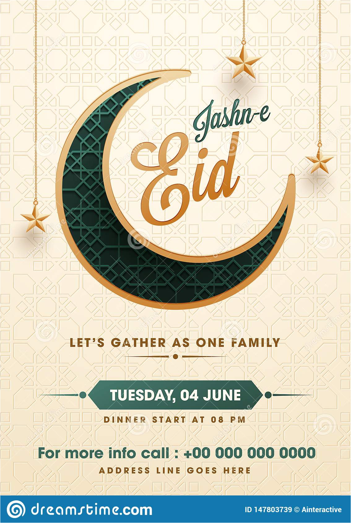flat style jasne eid party invitation card design illustration crescent moon hanging star islamic pattern flat 147803739 jpg
