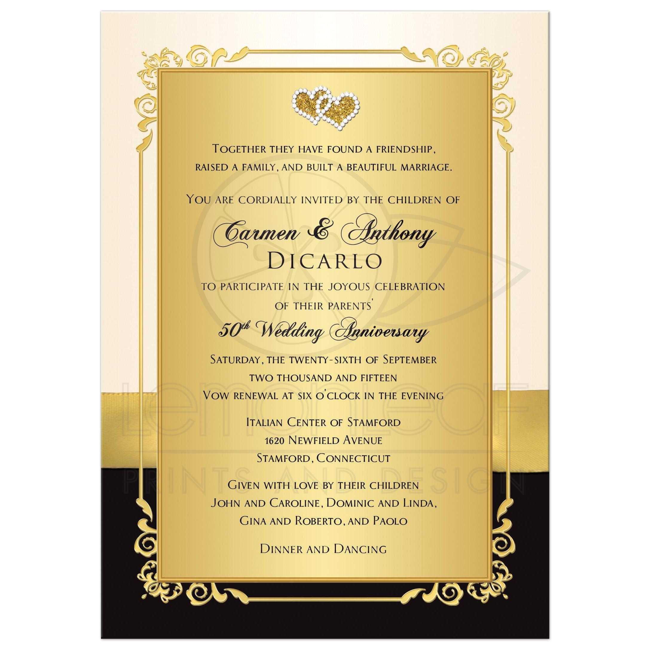 golden wedding anniversary invitation cards jpg