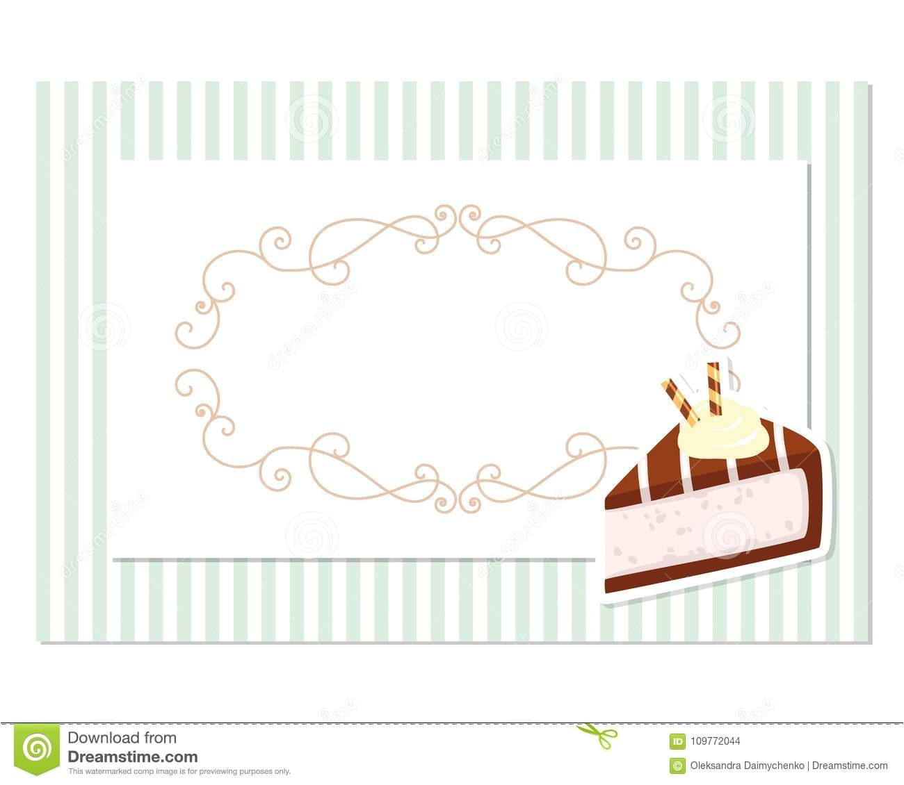 vintage greeting card template filigree frame stripped retro background birthday wedding invitation bakery design vintage 109772044 jpg