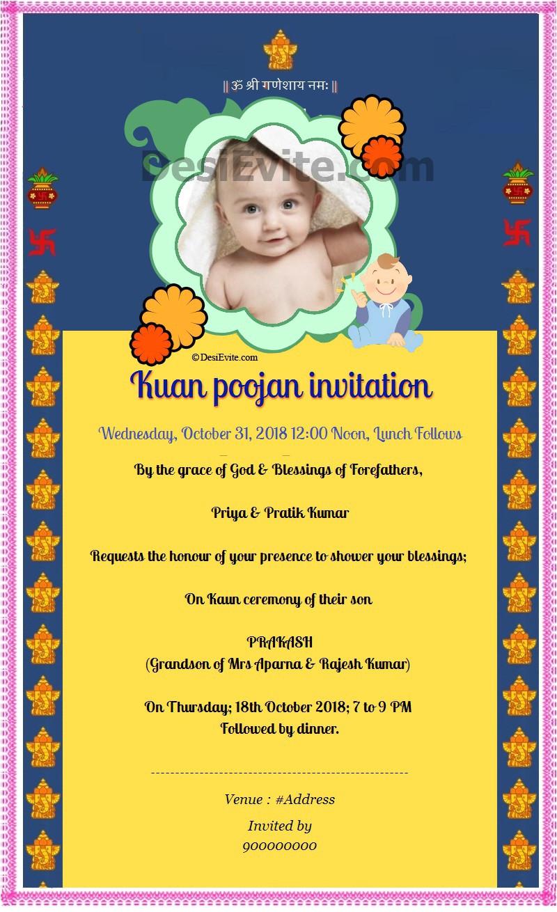 Jain Wedding Card Matter In Hindi Newborn Baby Ceremony Invitation Card Newborn Baby