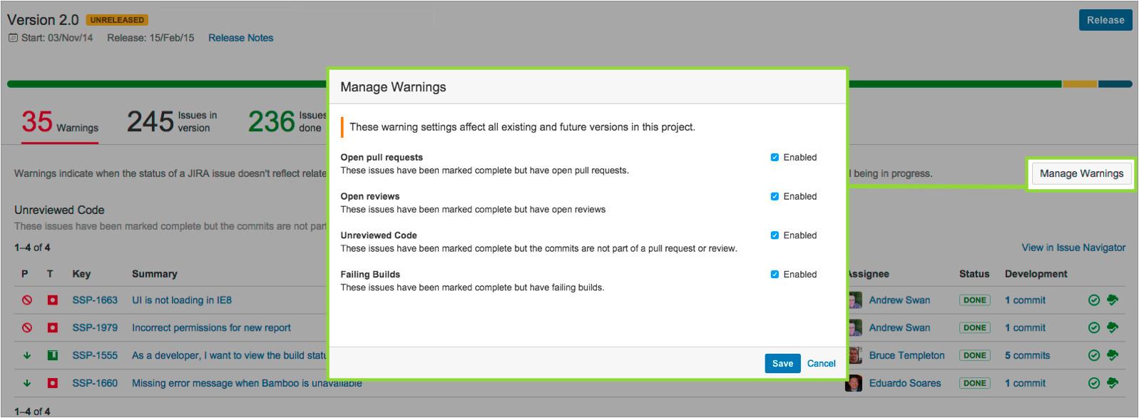 jira versionprogress managewarnings png
