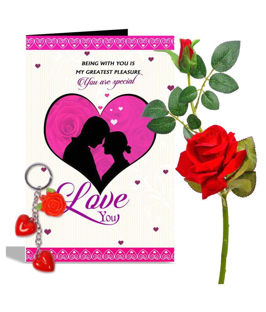 Key to My Heart Anniversary Card You are Special Love You Rose Day Greeting Card Red Flowers with Heart Key Ring Hampers