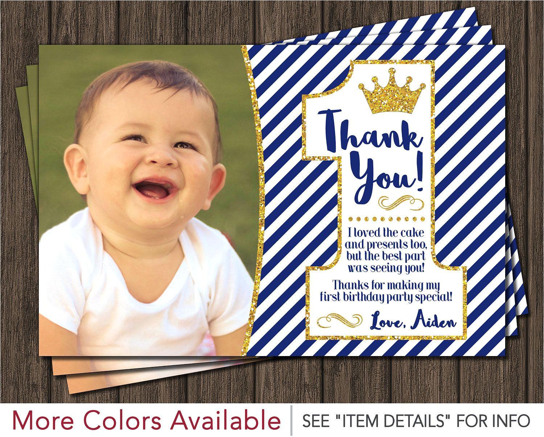 Kid Birthday Thank You Card Wording Prince First Birthday Thank You Card Royal Blue 1st