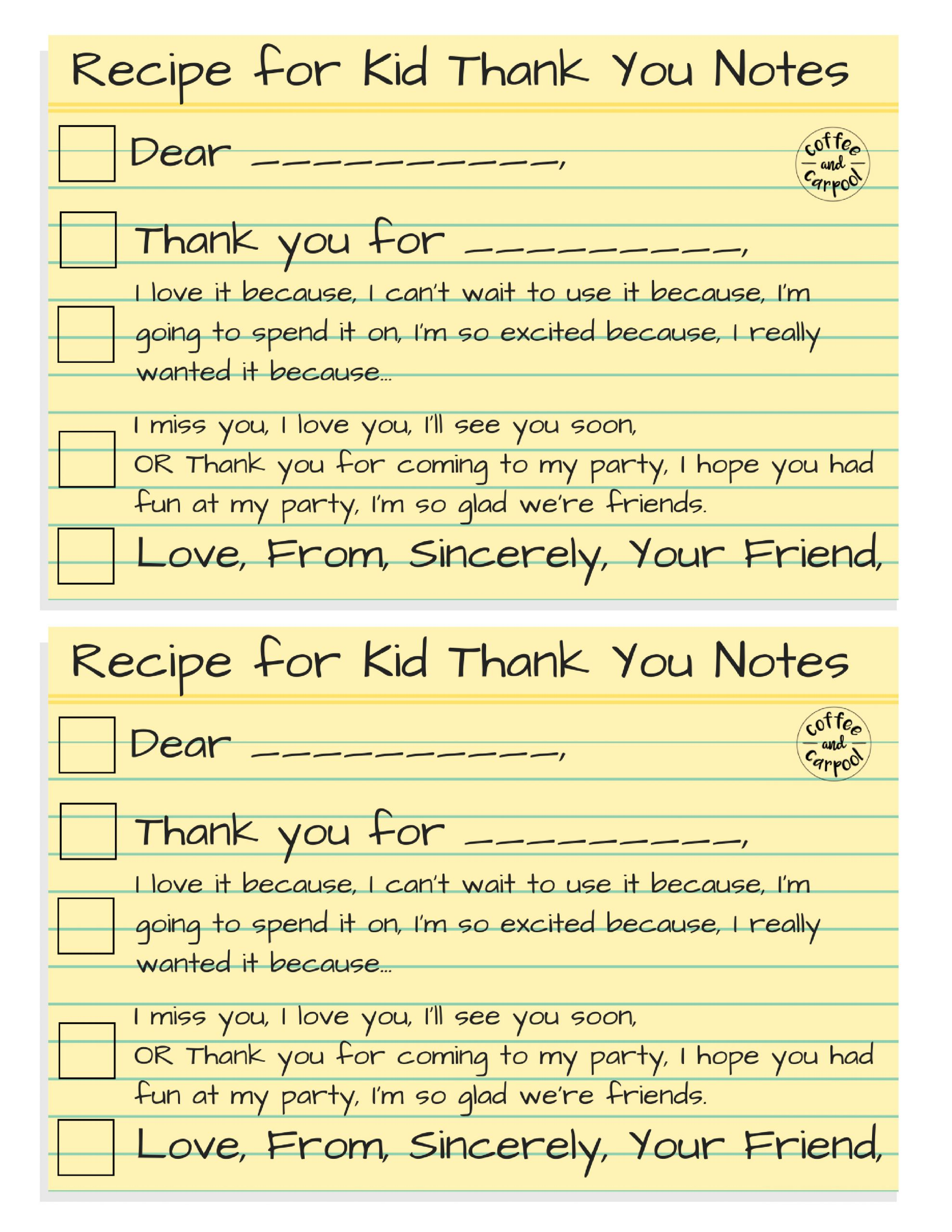 recipe for thank you notes png