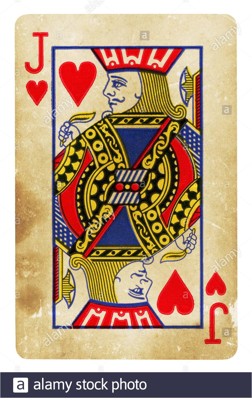jack of hearts vintage playing card isolated on white clipping path included 2b6k33w jpg
