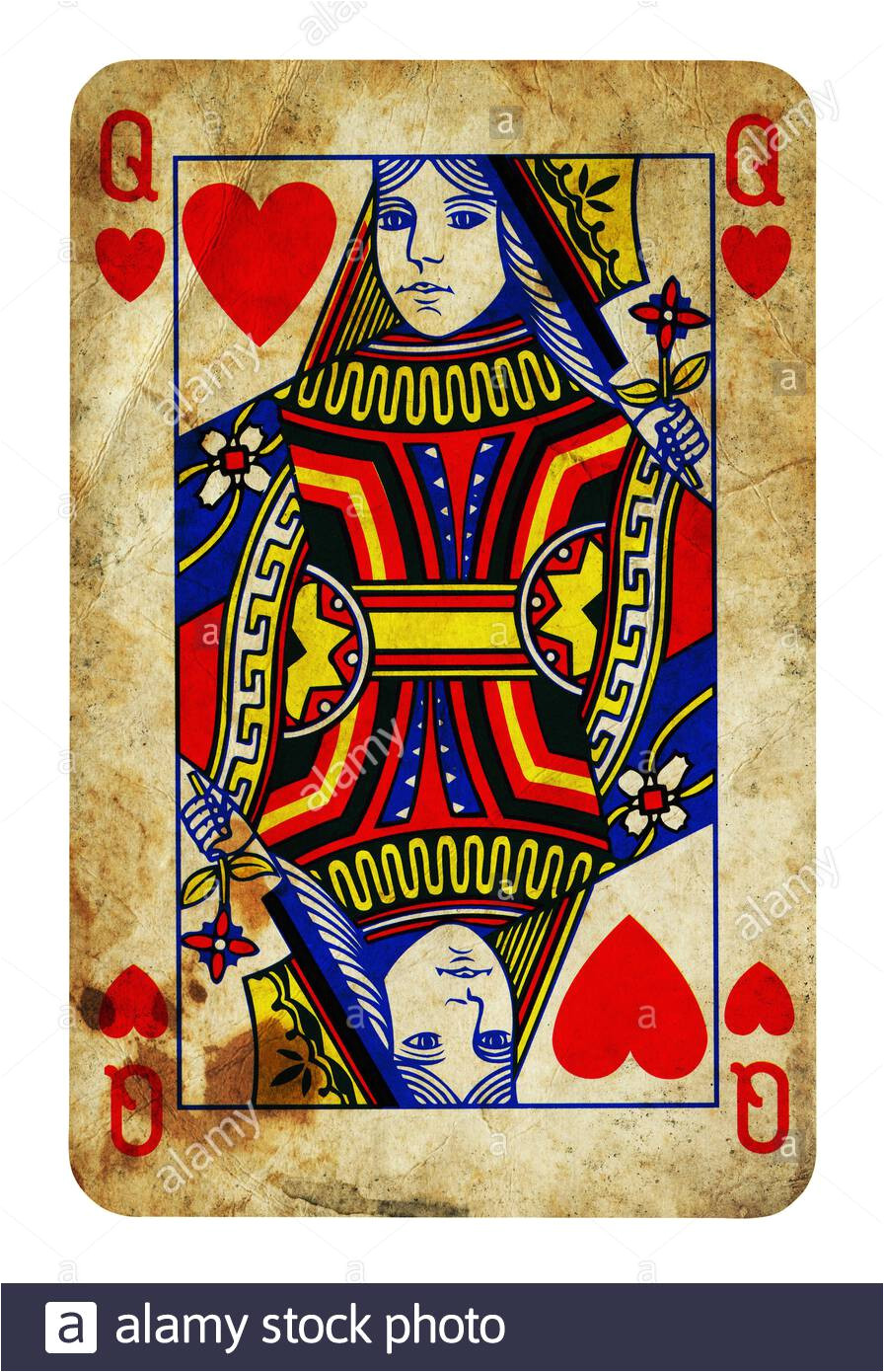 queen of hearts vintage playing card isolated on white clipping path included 2arg2w9 jpg