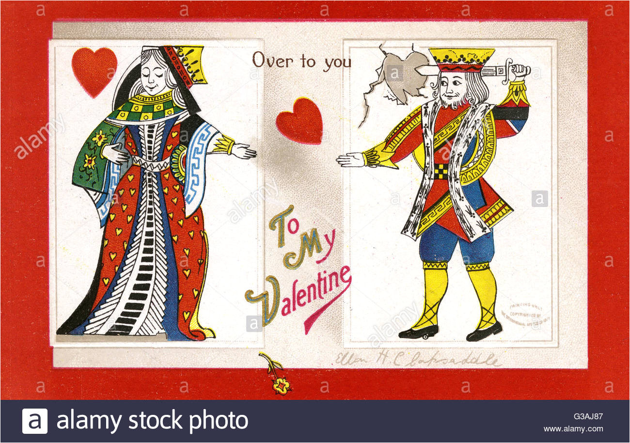 to my valentine over to you a playing card king and queen of hearts g3aj87 jpg