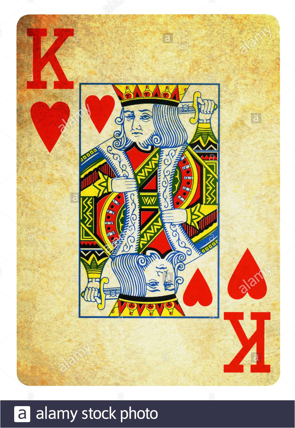 king of hearts vintage playing card isolated on white clipping path included 2agnyk3 jpg