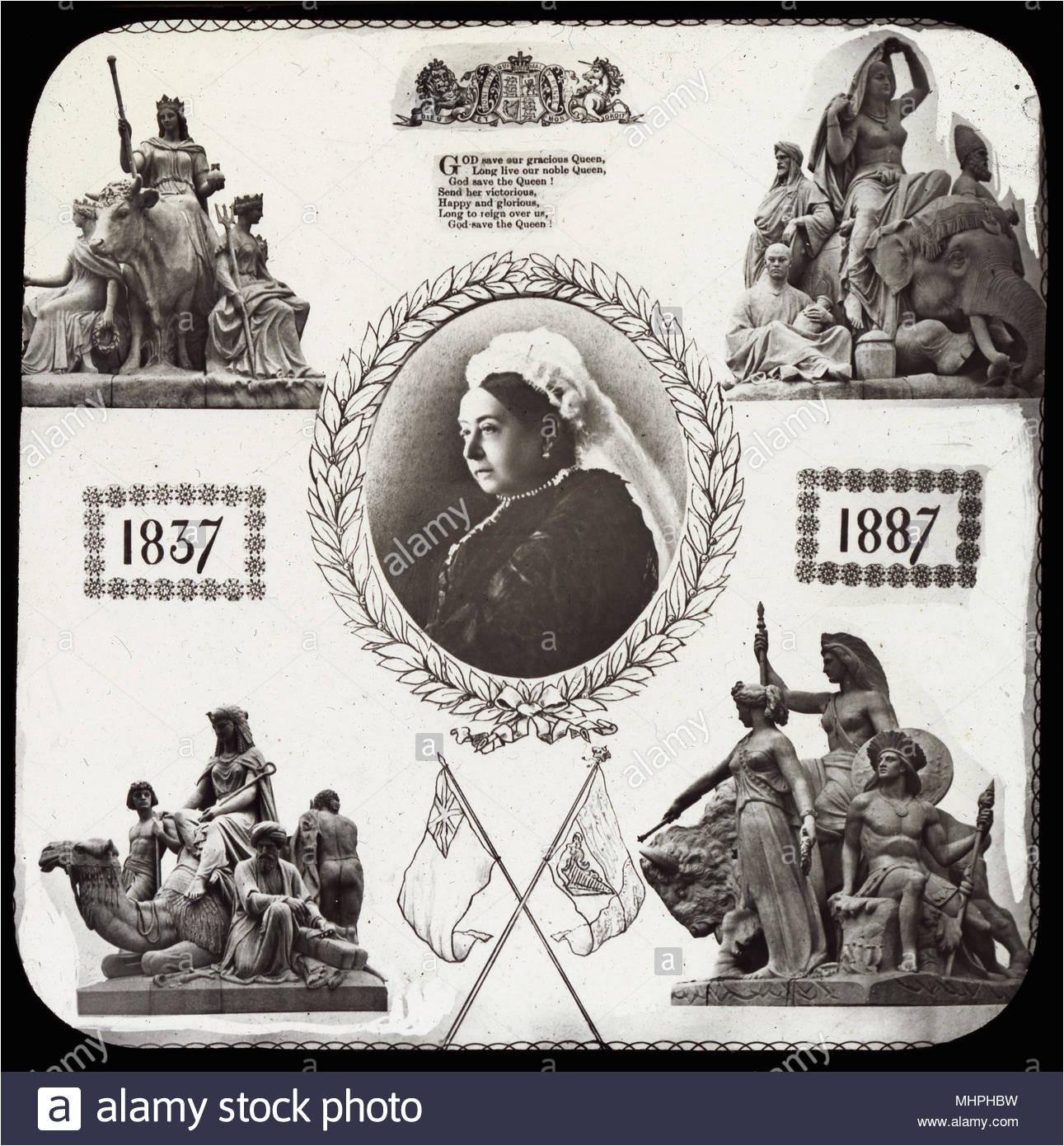 queen victoria golden jubilee gedenken ein portrait in der mitte mit skulpturen aus der albert memorial die an den vier ecken aus europa asien afrika und amerika datum 1887 mhphbw jpg