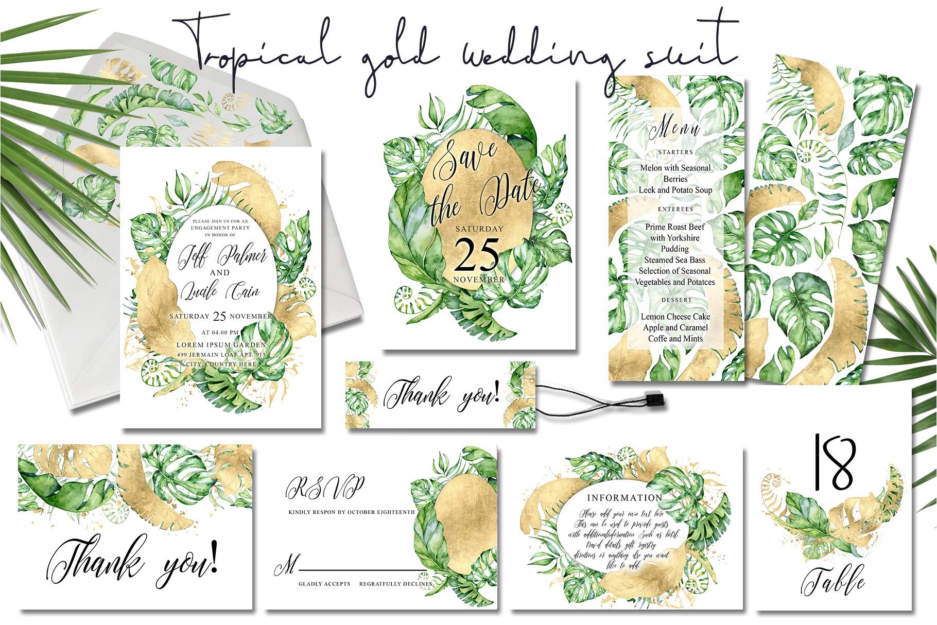 tropical gold wedding invitation suit by evgeniiasart jpg