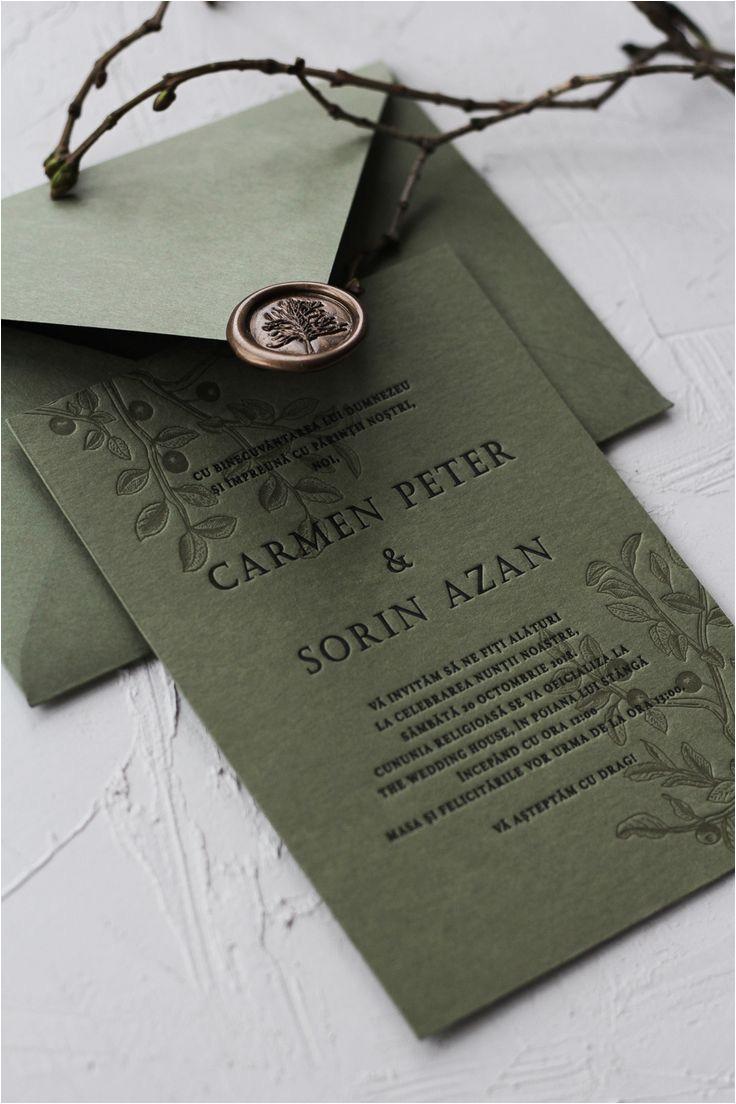 Marriage to Get Green Card Invitatie Letterpress Carmen sorin Hochzeitseinladung