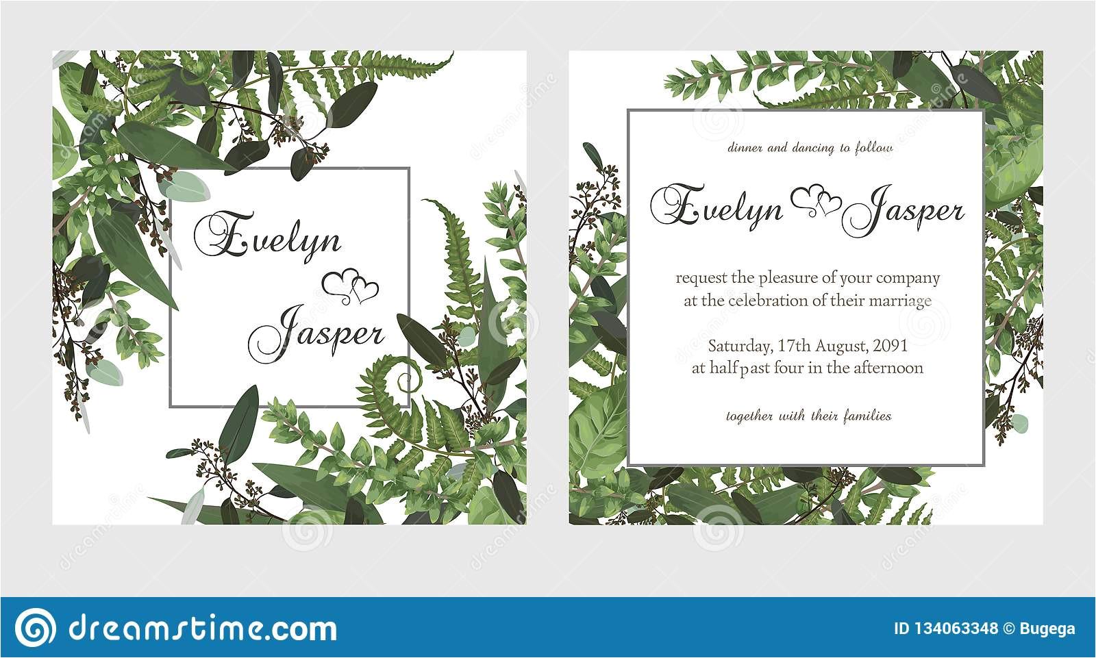 set wedding invitation greeting card save date banner vintage square frame green fern leaf boxwo od eucalyptus sprigs 134063348 jpg