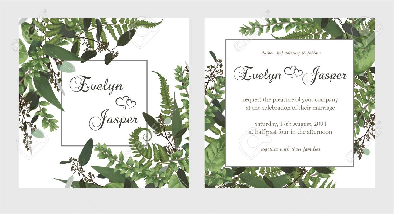 127098458 set for wedding invitation greeting card save date banner vintage square frame with green fern leaf jpg