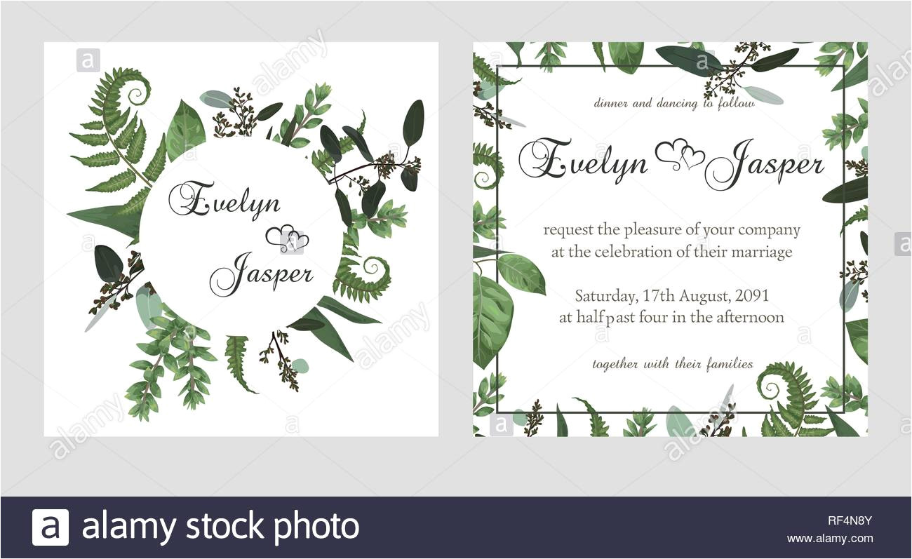 set for wedding invitation greeting card save date banner vintage square round frame with green fern leaf boxwo od and eucalyptus sprigs isolate rf4n8y jpg