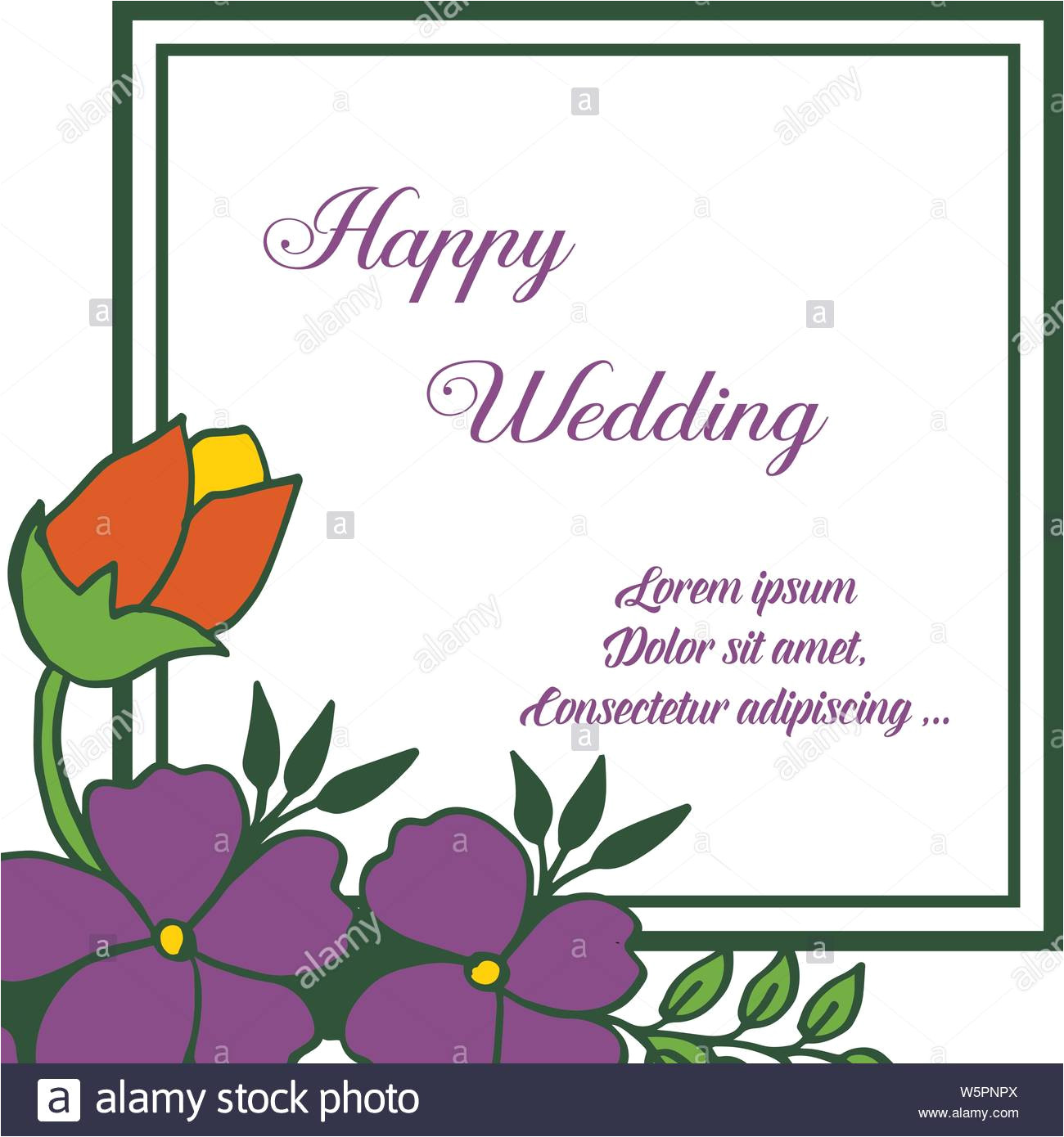 greeting card lettering of happy wedding with purple flowers in a frame with an ornament vector illustration w5pnpx jpg