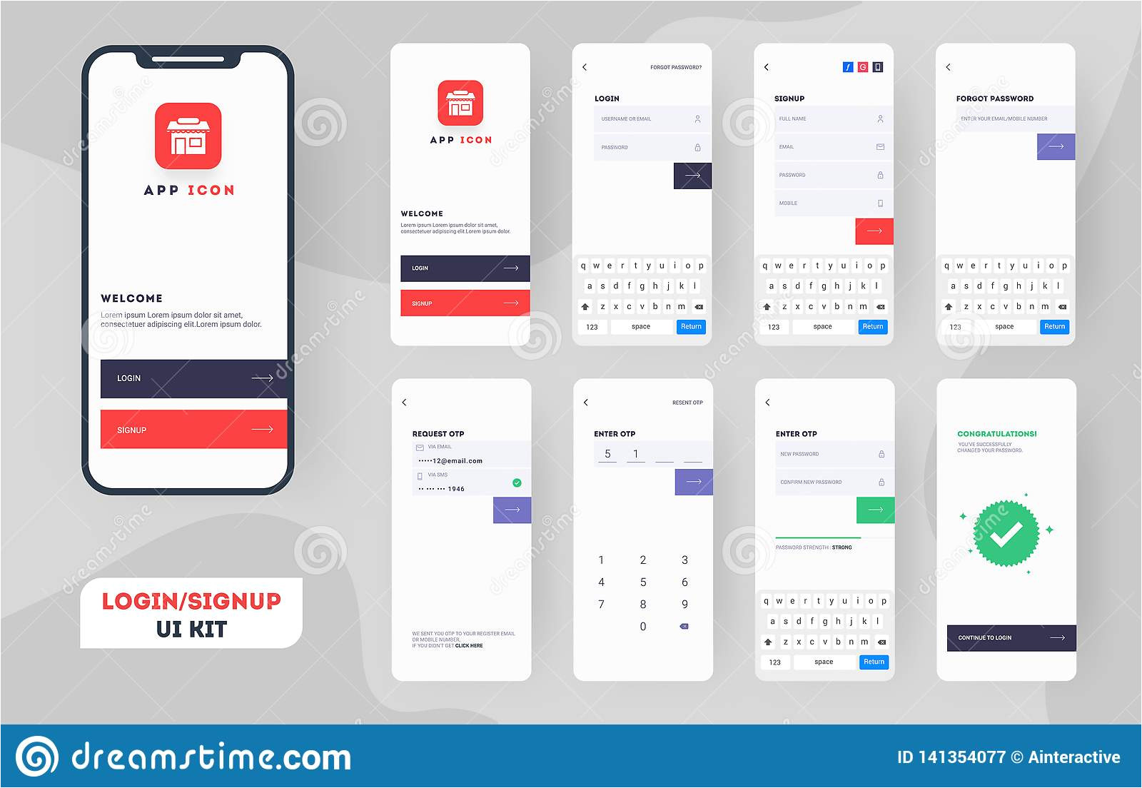 material design ui ux gui layout different login screens including account sign up lock screen mobile apps 141354077 jpg