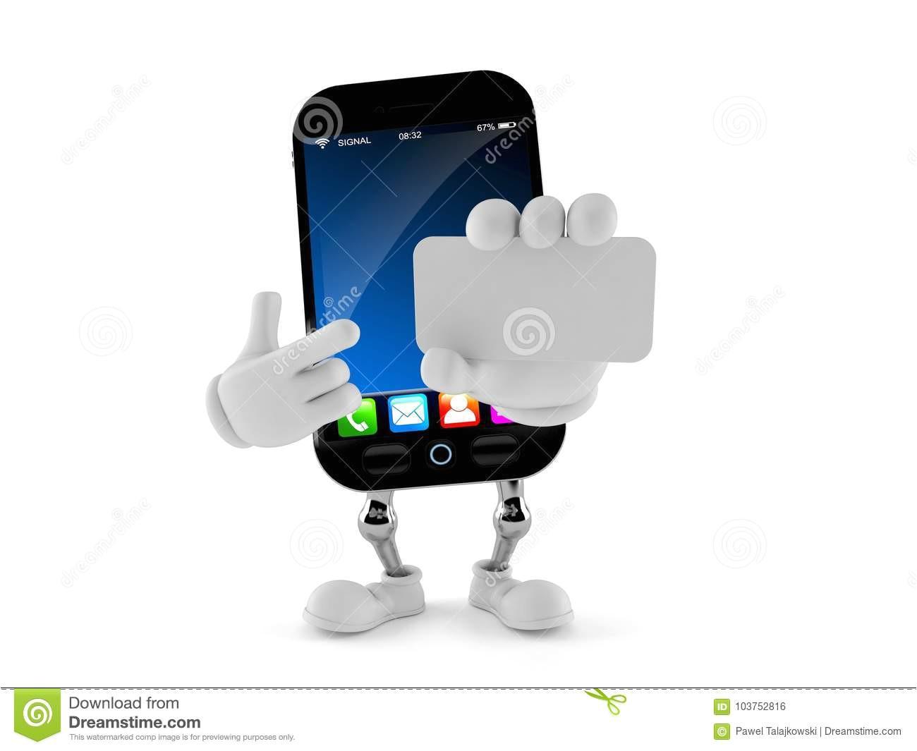 smart phone character holding blank business card smart phone character holding blank business card white background 103752816 jpg