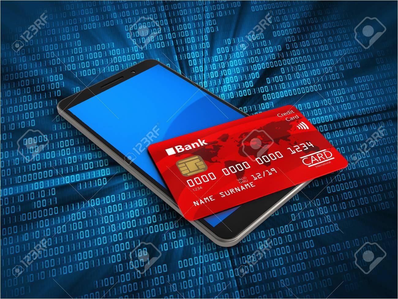 83097012 3d illustration of mobile phone over digital background with credit card jpg