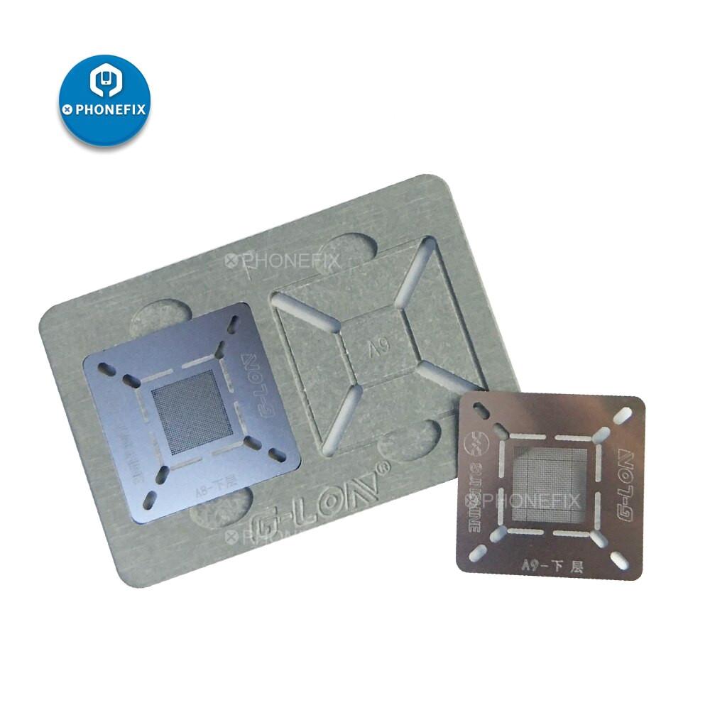 phonefix g lon 601h bga reballing stencil plant tin platform for iphone a12 a11 a10 a9 jpg