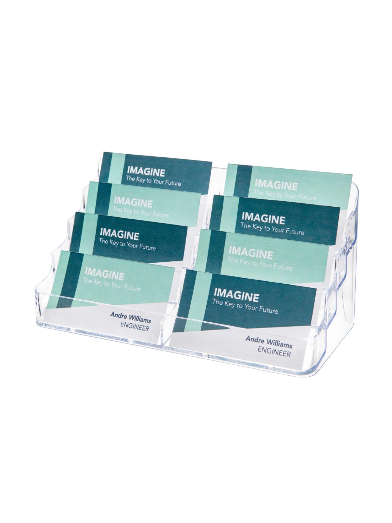 Modern Desktop Business Card Holder Deflect Oa 8 Compartment Business Card Holder 3 7 8 H X 7 7 8 W X 3 5 8 D Clear Item 166982