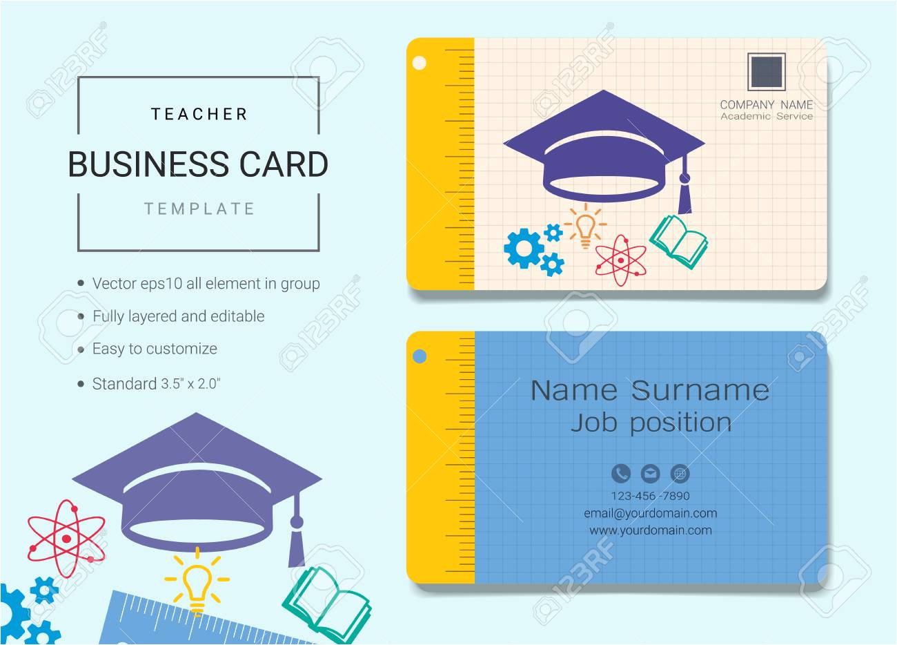 95967343 teacher business card or name card template simple style also modern and elegant with education cap jpg