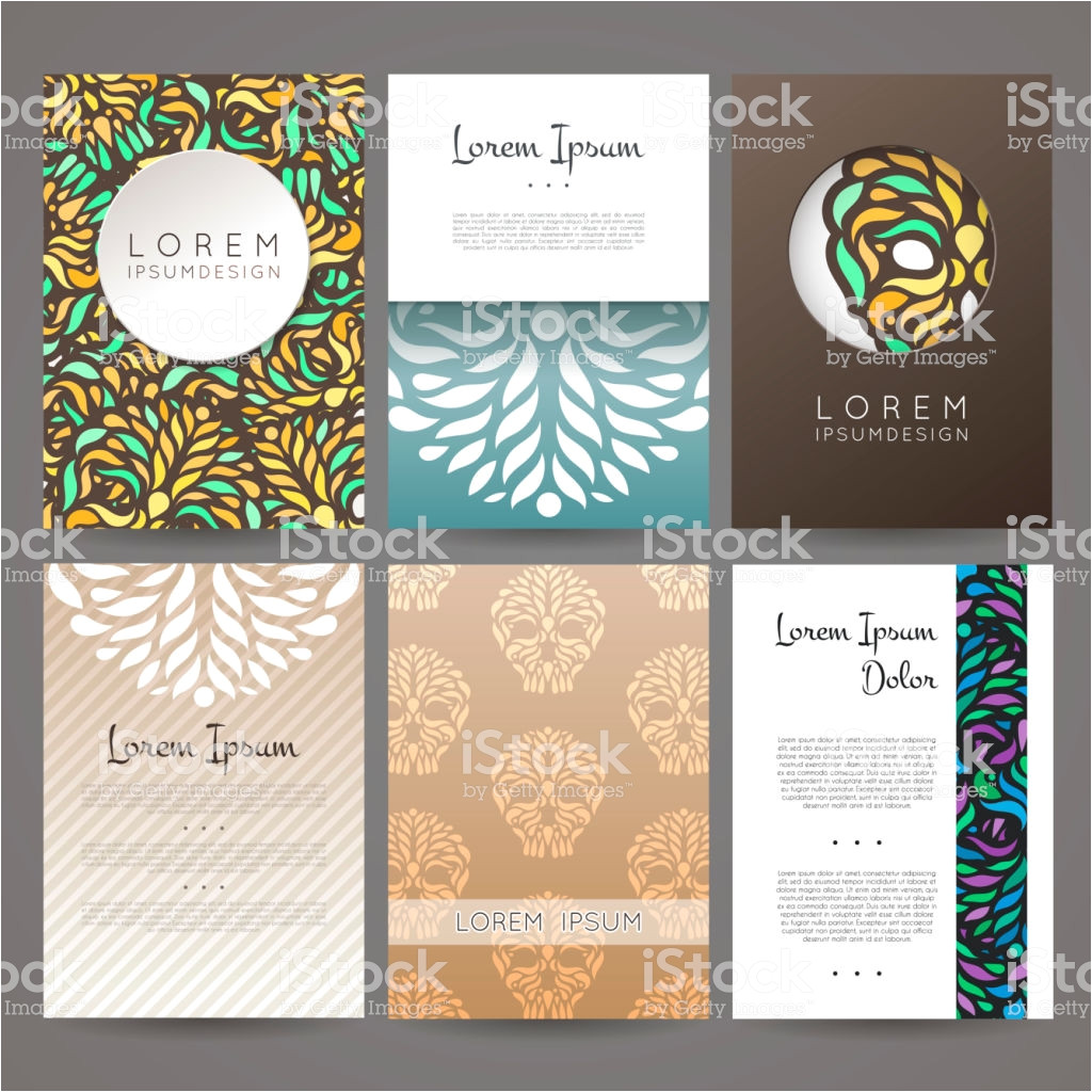 set of vector design templates business card with floral ornament vector id892573562