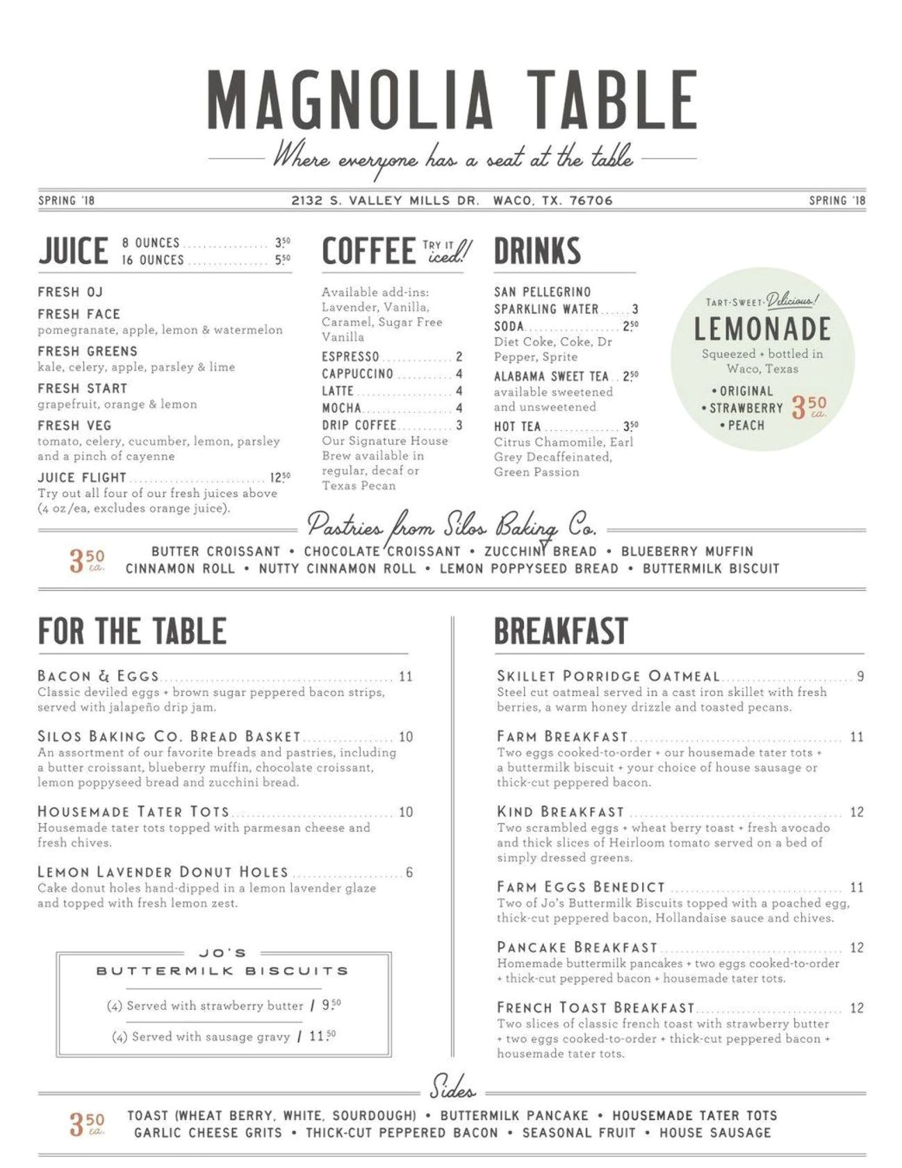 New Modern Cafe Menu Card Magnolia Table Menu What Kind Of Food is Chip and Joanna