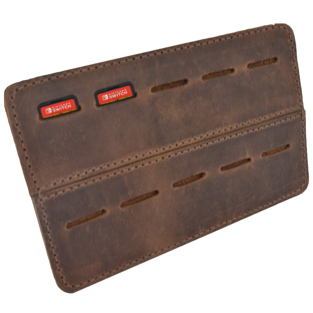 Over the Door Christmas Card Holder Metal Leather Switch Game Card Holder Traveler Case Up to 10 Game Slots Handmade by Hide Drink Bourbon Brown