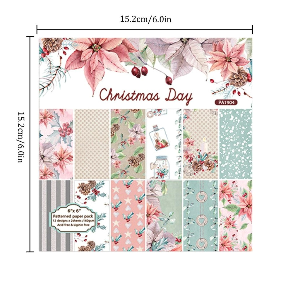 24 sheets christmas day scrapbooking pads paper origami art background paper card making diy 6x6 inch jpg 960x960 jpg