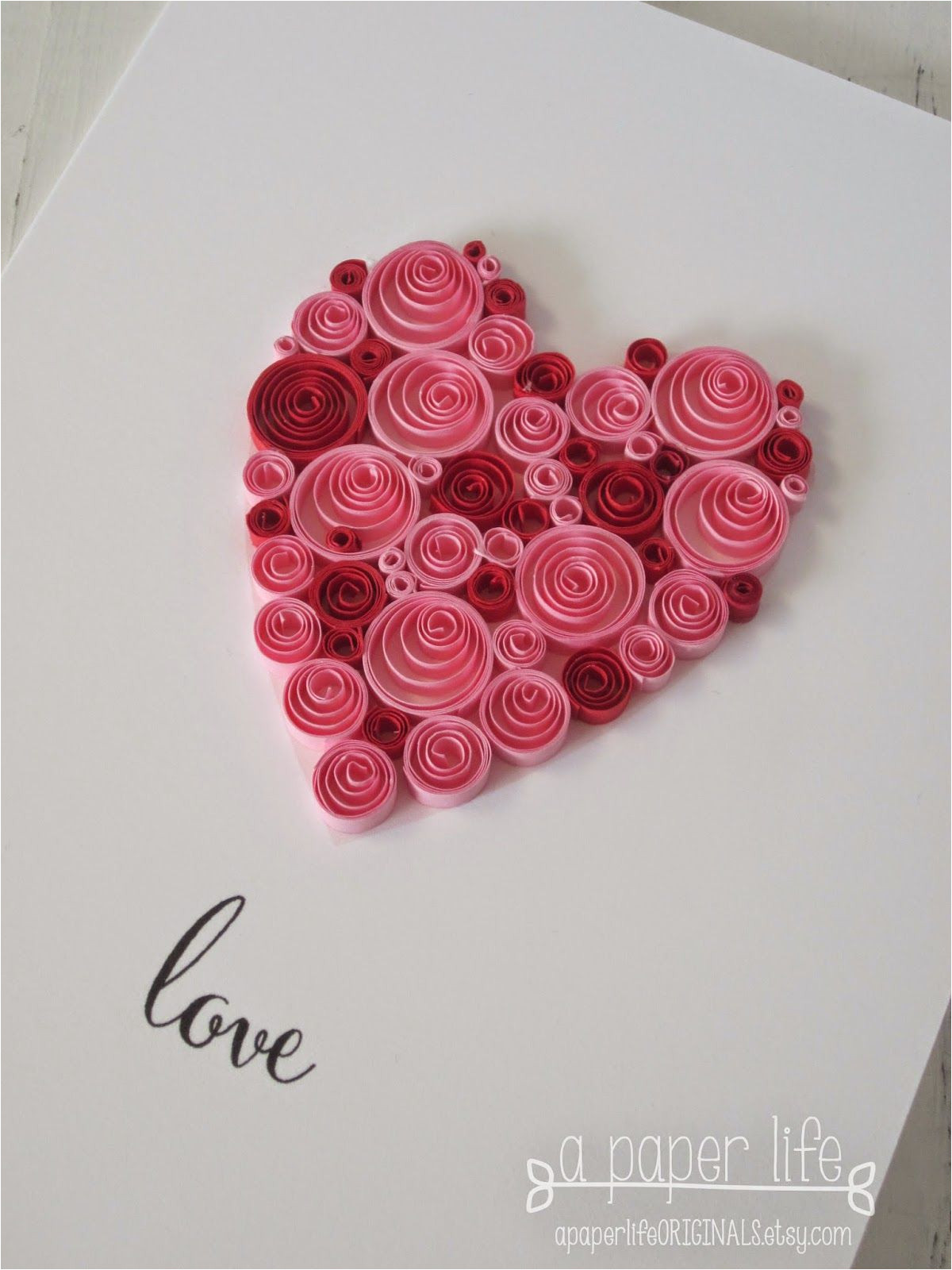 Paper Quilling Card for Boyfriend Love Quilled Red Pink Heart In 2020 Paper Quilling