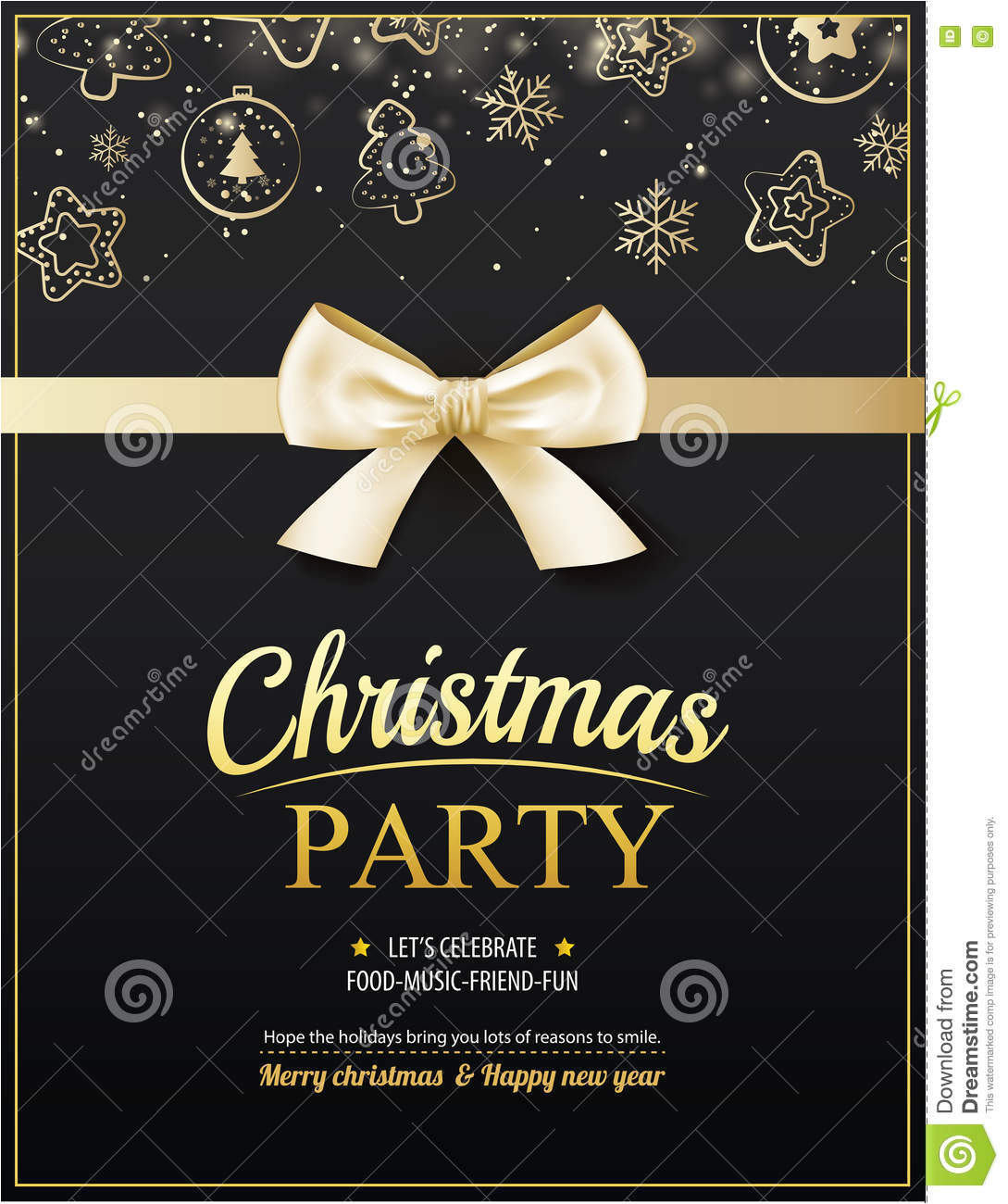 invitation merry christmas party poster banner card design template happy holiday new year gold ribbon theme concept 81687100 jpg