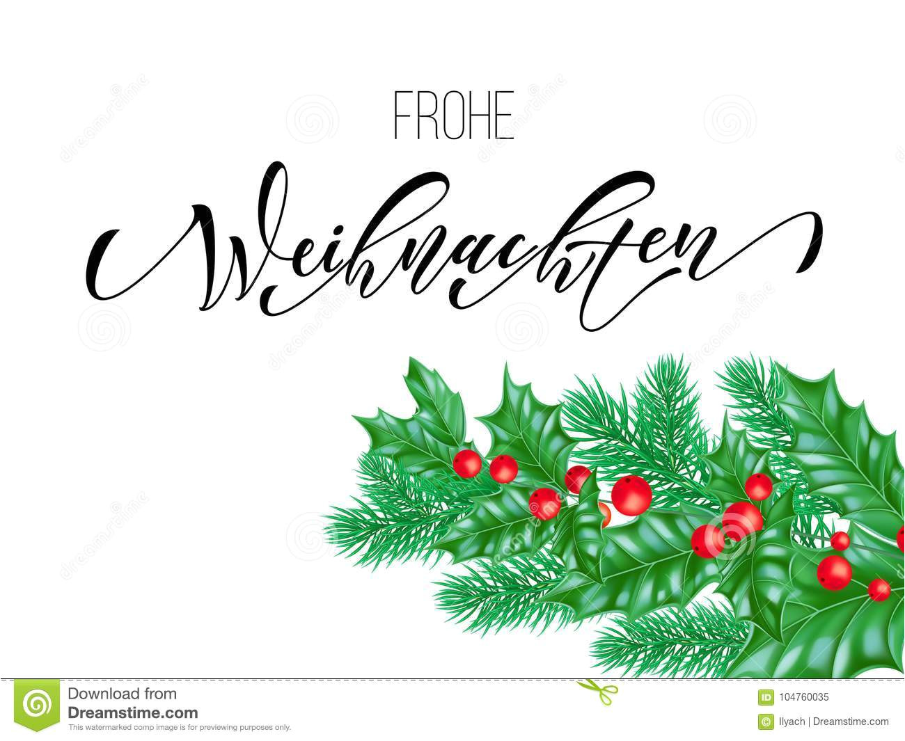 frohe weihnachten german merry christmas calligraphy font white premium background winter xmas holiday design template 104760035 jpg