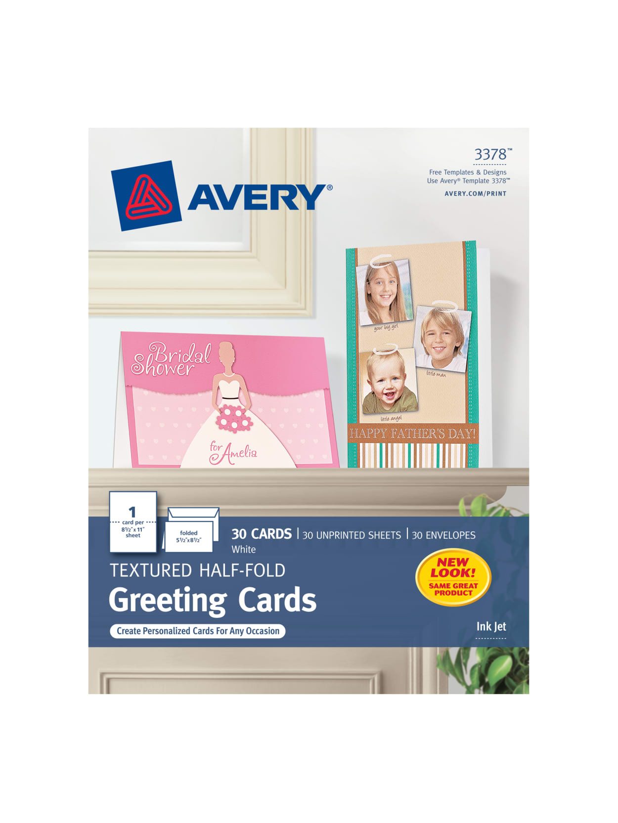 Quarter Fold Thank You Card Template Avery Half Fold Textured Greeting Cards 5 12 X 8 12 White