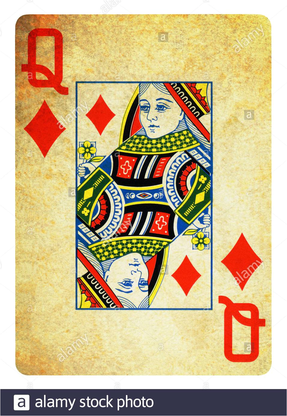 queen of diamonds vintage playing card isolated on white clipping path included 2agwf7w jpg