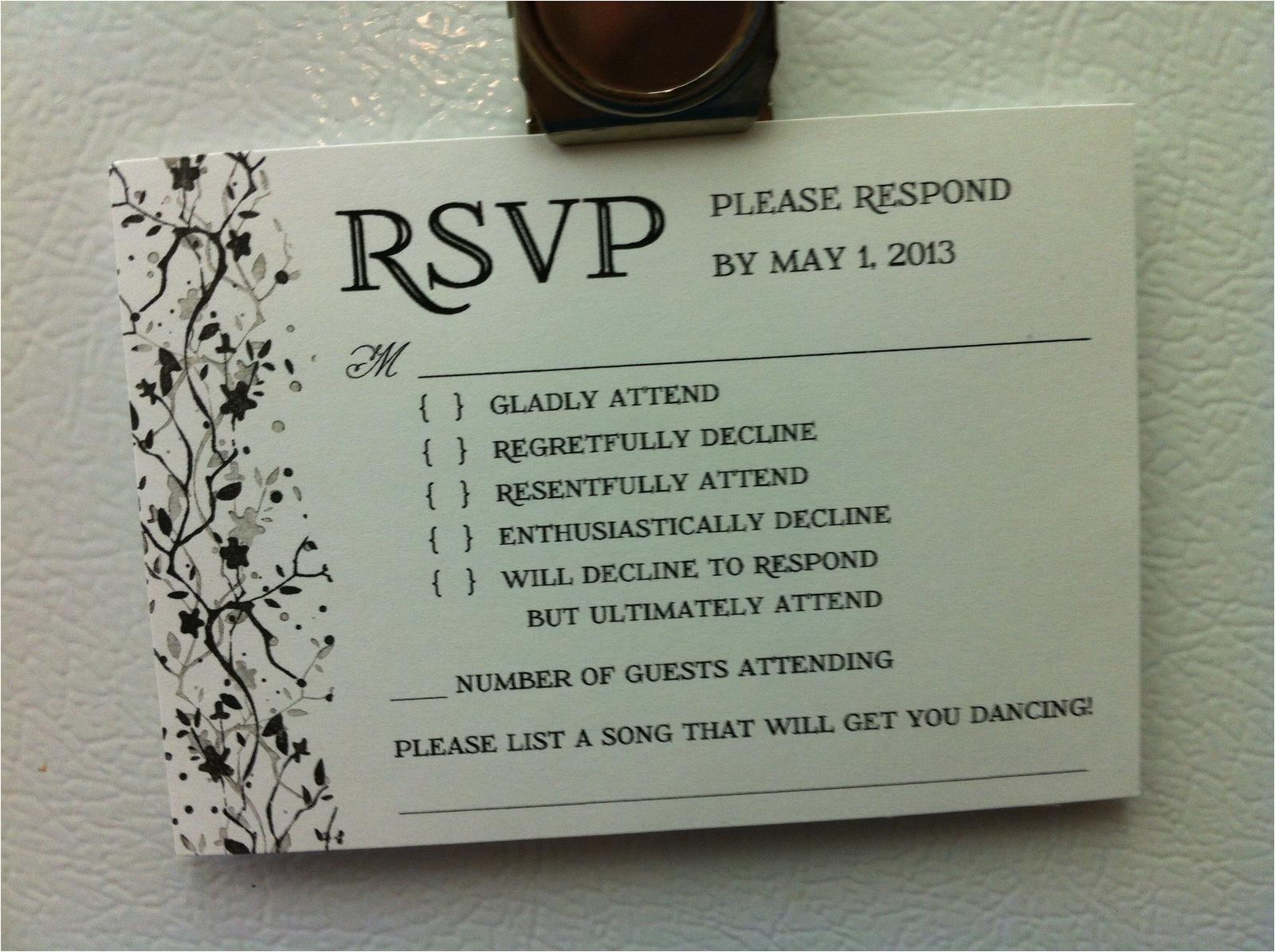 Rsvp Card Wording for Wedding Funny Rsvp Card Love the song Idea Rsvp Wedding Cards