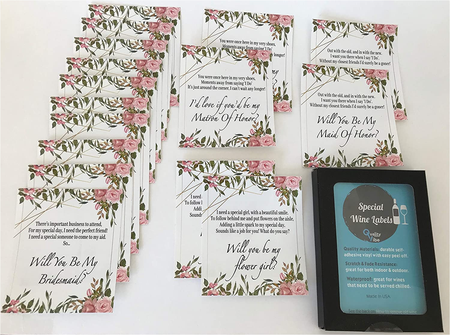 Scratch Card Wedding Favours Poem Set Of 16 Labels Will You Be My Bridesmaid Matron Of Honor Maid Of Honor Flower Girl with Poems ask Bridesmaids Using Beautiful Poems On Labels