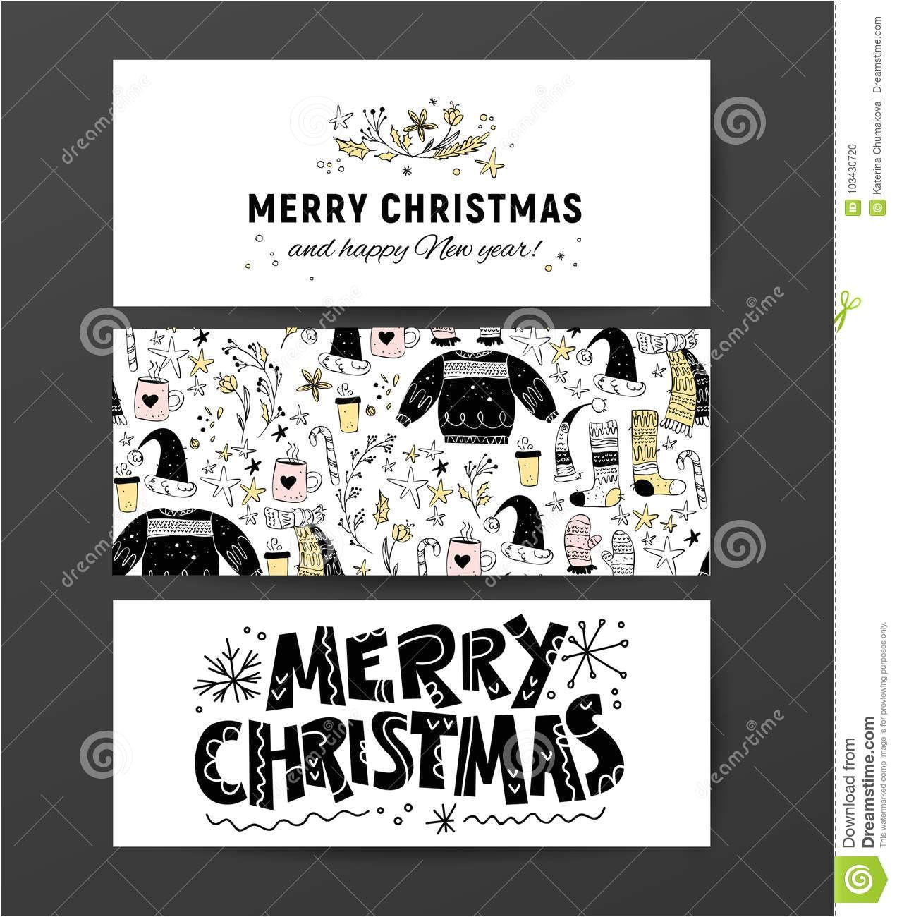 set vector christmas new year congratulation card designs scandinavian style illustration simple cute hand made xmas collection 103430720 jpg
