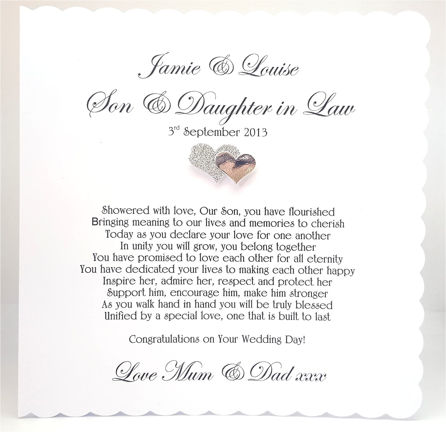 Son and Daughter In Law Anniversary Card Uk Business Wedding Card Verses for Daughter and son In Law