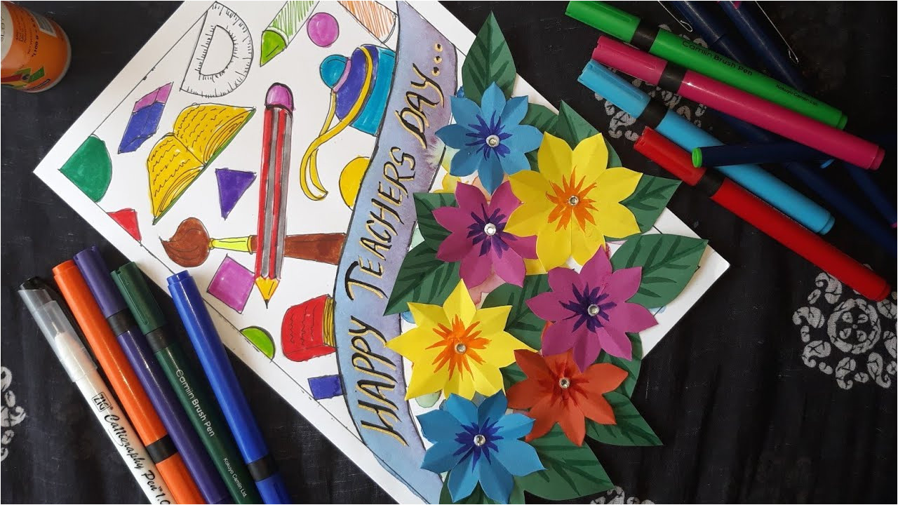 Teachers Day Card Crafting with Rachna Diy Teachers Day Greeting Card How to Make Teachers Day Card at Home