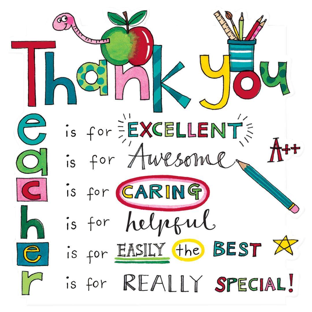 Teachers Day Card Decoration Ideas Rachel Ellen Designs Teacher Thank You Card with Images