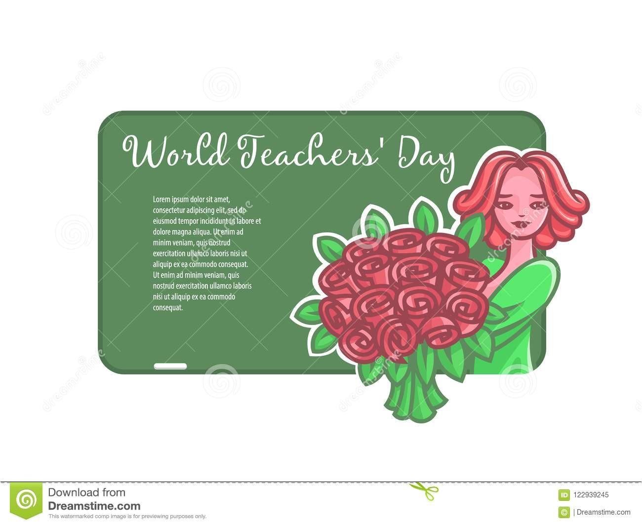 girl teacher flowers board chalk girl teacher flowers board chalk world teachers day vector 122939245 jpg