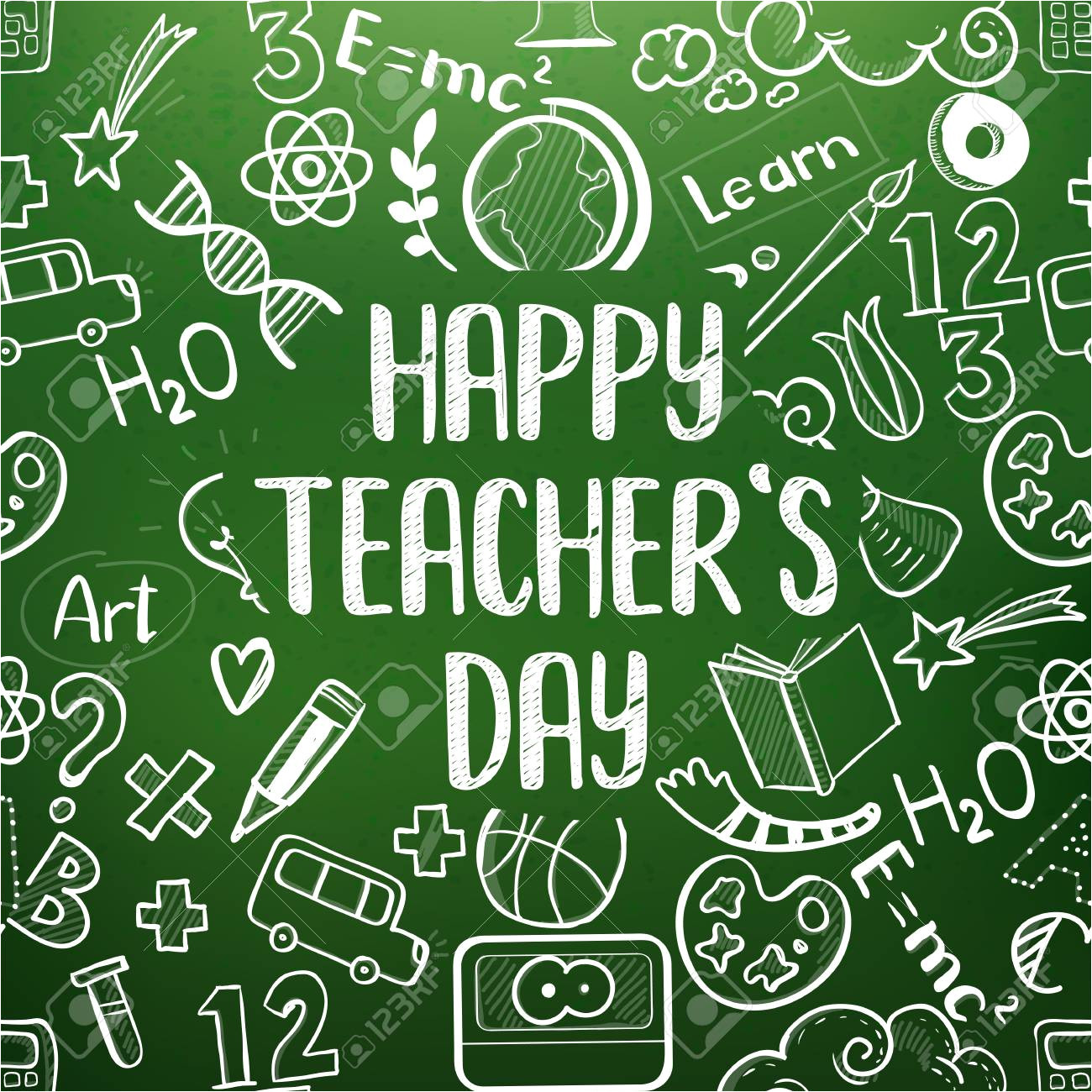100315143 happy teacher s day greeting on school realistic green chalkboard doodle icons frame jpg