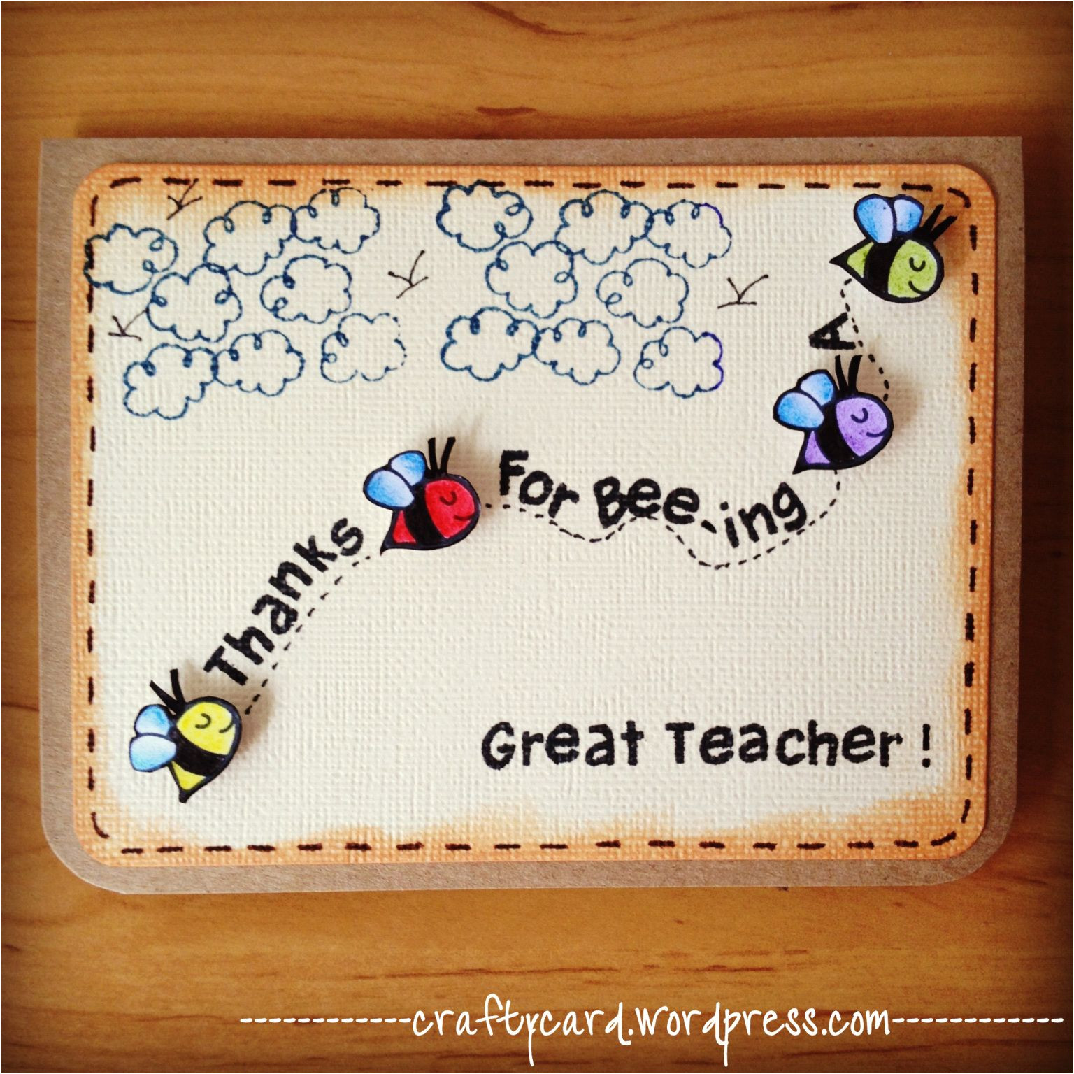 Teachers Day Handmade Greeting Card M203 Thanks for Bee Ing A Great Teacher with Images