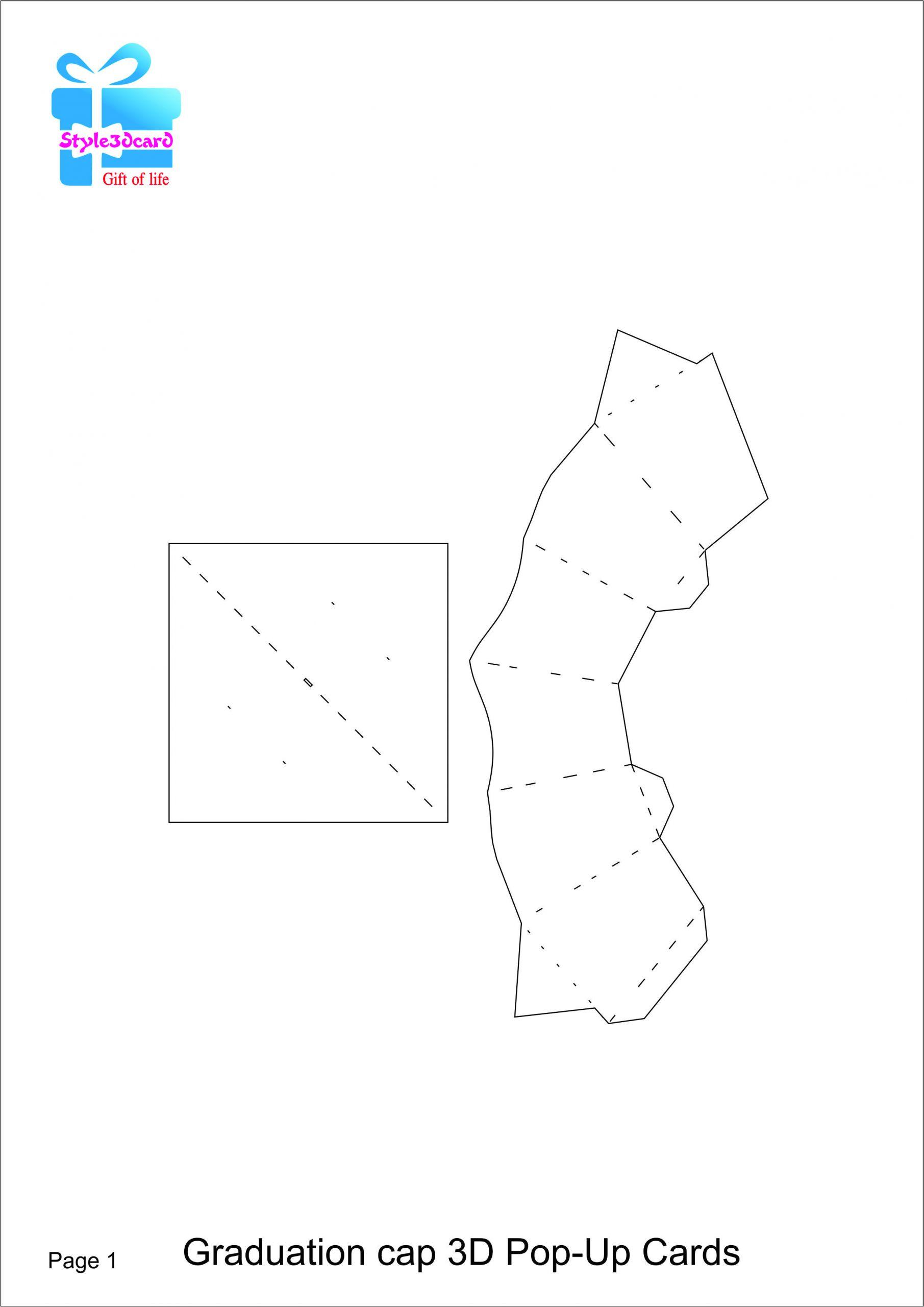 Teachers Day Pop Up Card Template Graduation Cap 3d Pop Up Card Kirigami Pattern 1 with