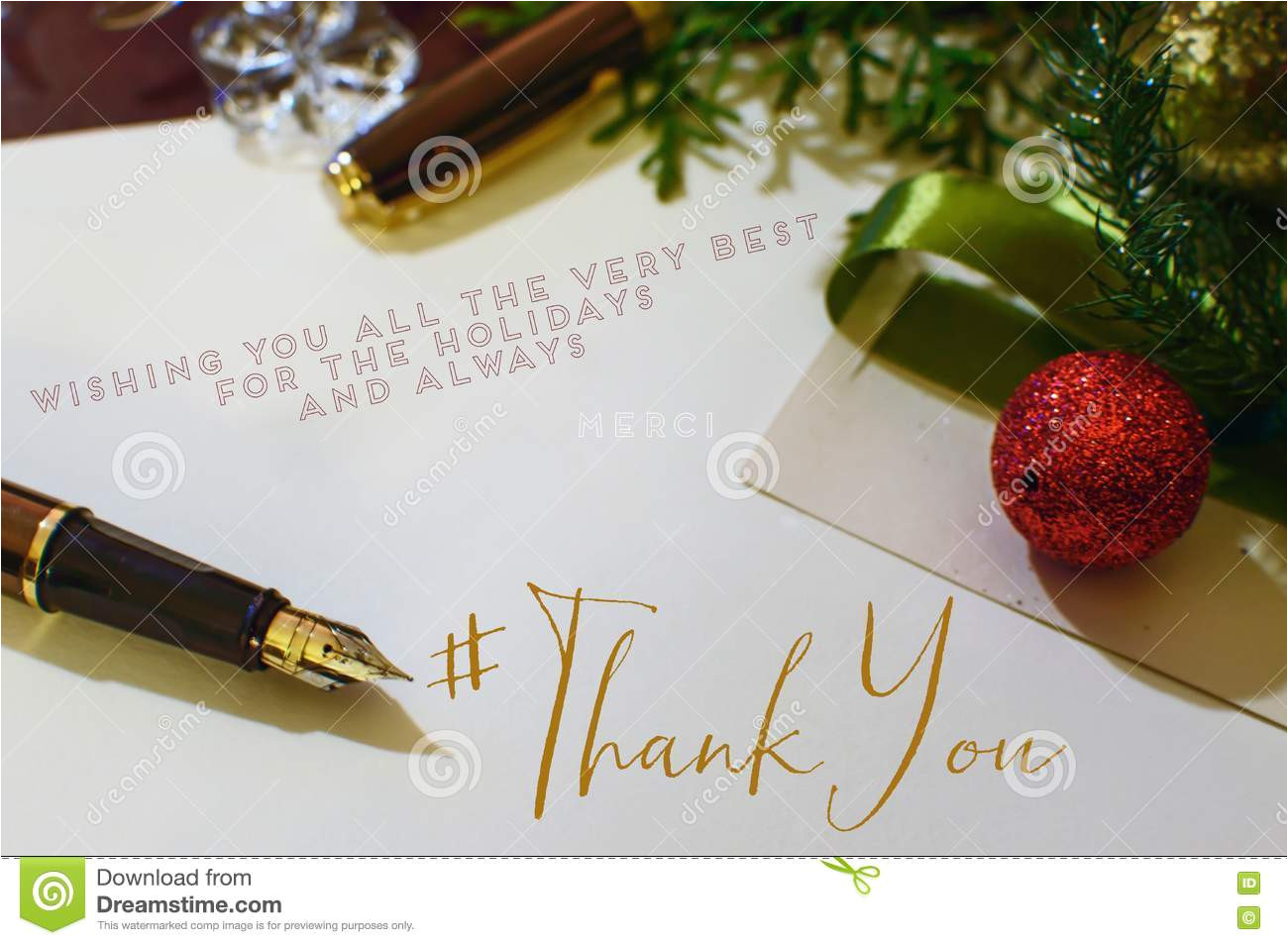 christmas thank you card gold fountain pen desk ornaments evergreen tree gold crystal writing notes end 82670901 jpg
